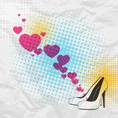 Corazones y zapatos de tacón. — Vector de stock