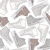 Cartoon sneakers seamless texture — Stock Vector