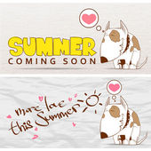 Summer vector card with funny cartoon doggy. — Vector de stock
