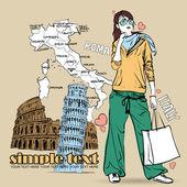 Pretty fashion girl on a italian background — Stock Vector