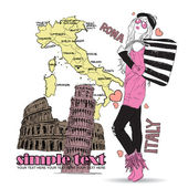 Pretty fashion girl on a italian background — Stock Vector