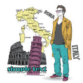 Young stylish guy on a italian background — Stock Vector