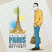 Young stylish guy on a eiffel tower backgroun — Stockvector