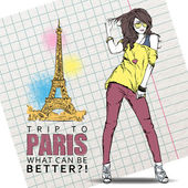 Young stylish girl on a eiffel tower background. — Stock Vector