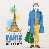 Young stylish guy on a eiffel tower backgroun — Stock Vector