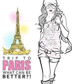 Giovane ragazza alla moda su uno sfondo di torre eiffel — Vettoriale Stock