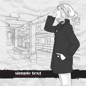 Chica de moda en la estación de metro — Vector de stock