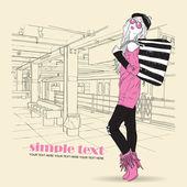 Fashion girl at subway station — Stock Vector