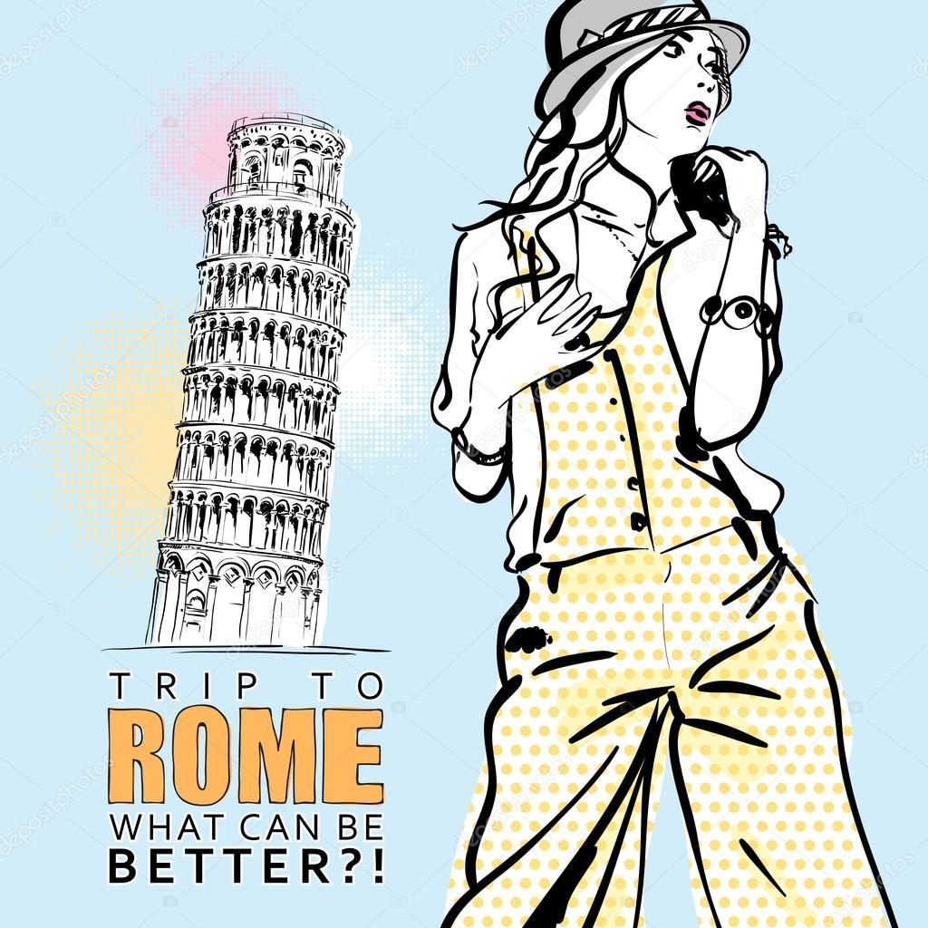 可爱的女孩在意大利背景上的素描样式