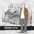 Stylish guy in a coat on a street-cafe- background. - Stock Vector