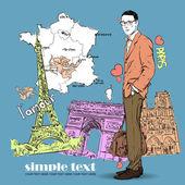 Mladí muži s taškou v náčrtu stylu na francouzský pozadí. — Stock vektor