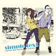 Fashion girl and stylish guy on a street-background — ストックベクタ