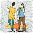 Two fashion girl in sketch-style on a floral background — Stock Vector