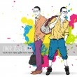 Vector illustration of two stylish guys on a dirty background. — Stock Vector