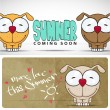 Summer vector card with funny cartoon doggy. - Stock Vector