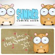 Summer vector card with cartoon hamster. - Stock Vector