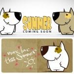 Summer vector card with funny cartoon doggy. — Stock Vector