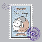 Vintage postage set with cartoon sheep. — Cтоковый вектор