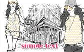Twee mode meisjes in schets stijl op een straat-café-achtergrond. — Stockvector