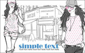 Two fashion girls in sketch style on a street-cafe background. — Stock Vector
