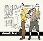 Two fashion guys in sketch-style on a street-cafe-background — Stock Vector