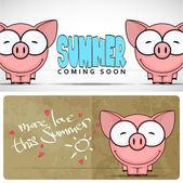 Funny cartoon piggy — Stock Vector