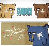 Zomer vector kaart met cartoon beer. — Stockvector