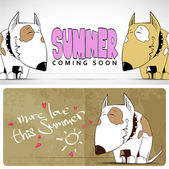 Summer vector card with funny cartoon doggy. — Stock Vector