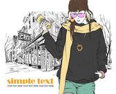 Mode flicka med kaffekopp i skiss stil på en street-café bakgrund — Stockvektor