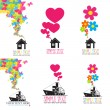 Vector set of abstract illustrations with ships and house. — Stock Vector