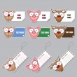 Vector set of animal stickers and tags. - Stock Vector