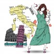 Royalty-Free Stock Vector Image: Cute girl in sketch-style on a italian background