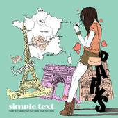 Piękna dziewczyna w stylu szkic na tle francuski — Wektor stockowy