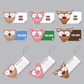 Vector set of animal stickers and tags. — Stock Vector