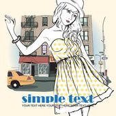 Moda ragazza in stile schizzo su uno sfondo di città. — Vettoriale Stock