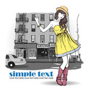 Fashion girl in sketch-style on a city-background. — Vector de stock