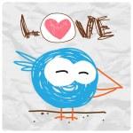 Funny cartoon bird, Vector illustration — Stock Vector #21128457