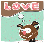 векторная иллюстрация с текстом и смешной мультфильм собака характер. — Cтоковый вектор