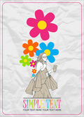 Girl with shopping bags and flowers. Abstract vector illustration. — Stock Vector