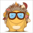 Vector illustration with funny cartoon hedgehog character. — Stock Vector