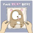 Drawing of a sheet of paper with cartoon hamster illustration in hands. Vector. — Stock Vector
