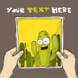 Drawing of a sheet of paper with cartoon cactus character illustration in hands. Vector. — Stock Vector #21141443