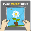 Drawing of a sheet of paper with cartoon flower illustration in hands. Vector. - Stock Vector