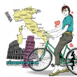 Pretty girl with bicycle on a italian background. Vector illustration — Stock Vector