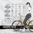 Pretty girl with bicycle on a street background. Vector illustration — Imagens vectoriais em stock
