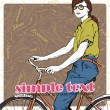 Royalty-Free Stock Vector Image: Pretty girl with bicycle on a footwear background. Vector illustration