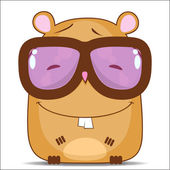 Vector illustration with funny cartoon hamster character. — Stock Vector