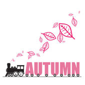 Abstract autumnal vector illustration with locomotive and leafs and letters — Stock Vector