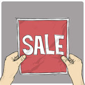 Drawing of a sheet of paper with word SALE in hands. Vector. — Stock Vector