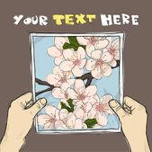 Elinde çiçeği kiraz çiçek çizim ile bir sayfaya bir çizim. vektör. — Stok Vektör